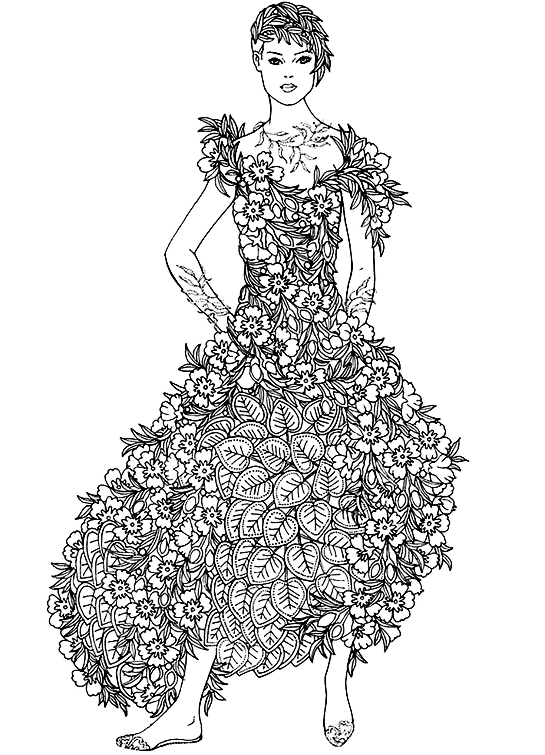 flowers dress flowers and vegetation coloring pages for adults
