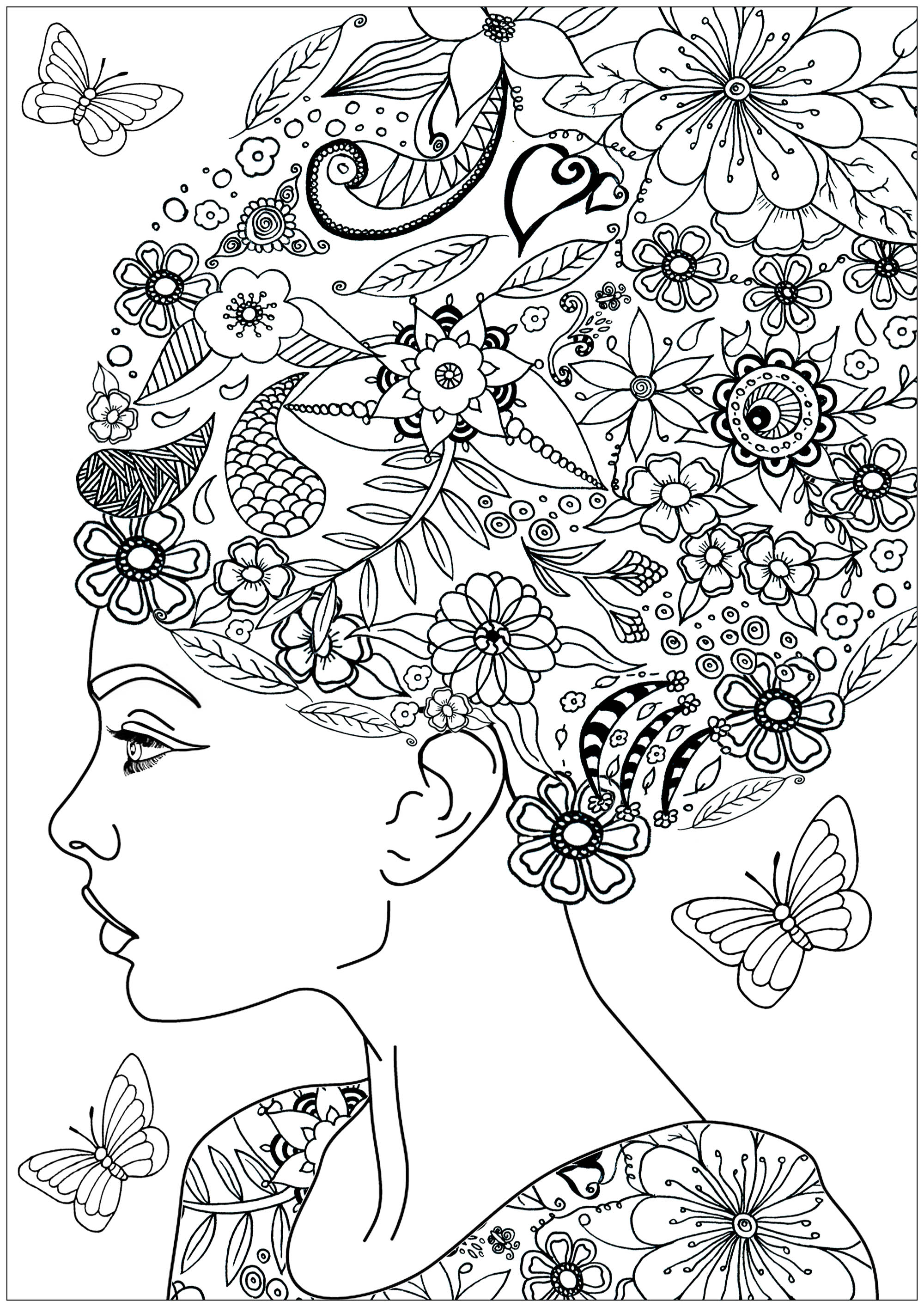 Woman with flowery hair