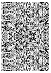 coloring adult complex flower carpet by valeriia lelanina