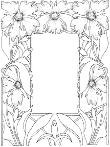 Coloring adult flowered framework