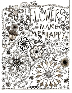 Coloring adult flowers drawing