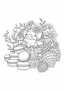 coloring-page-adults-fruits-macaroons