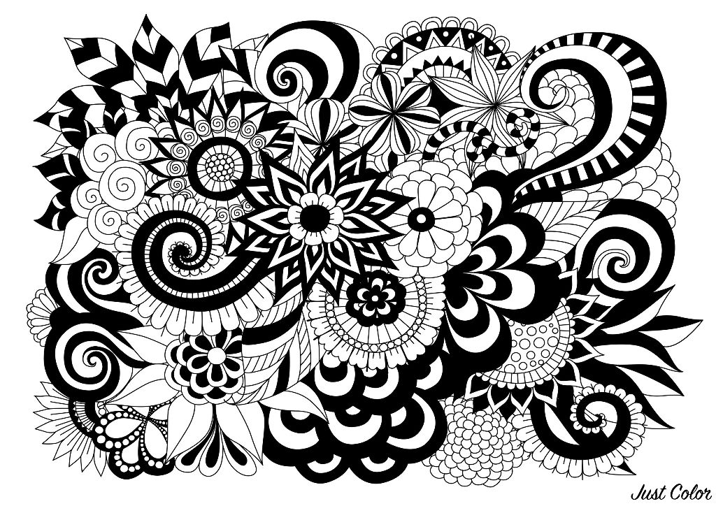 Magnificent and very contrasted adult coloring page, representing numerous flowers and leaves