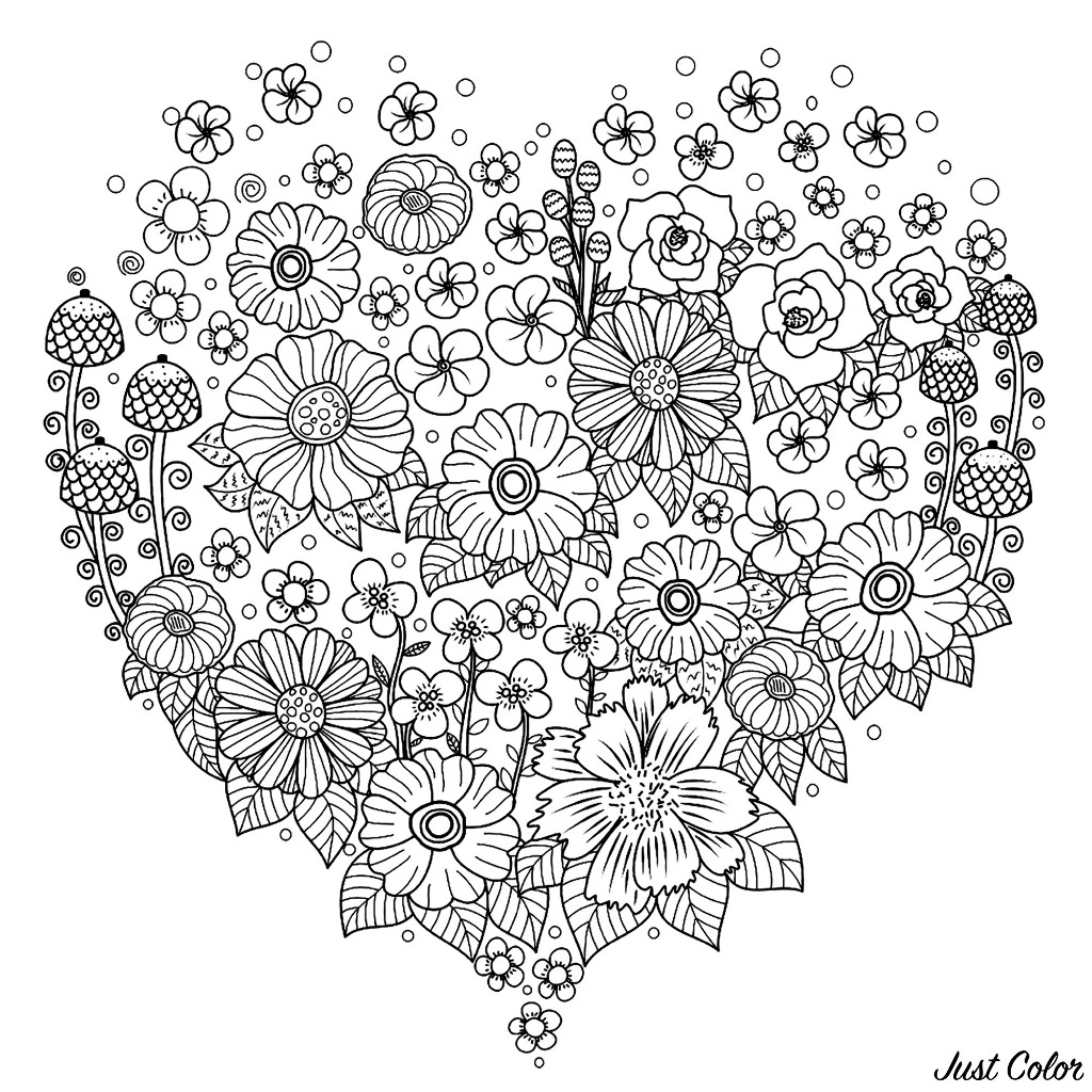 Color this beautiful flowers in this heart