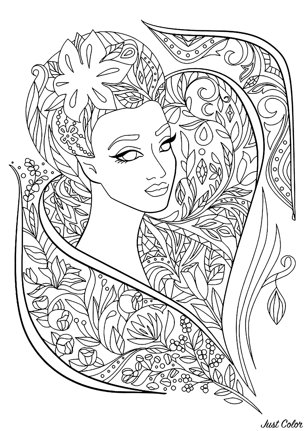 Woman face with beautiful flowers and leaves to color