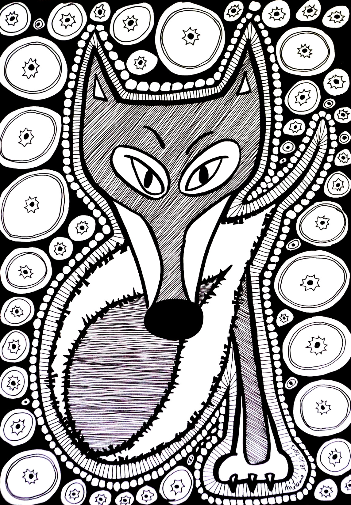 Black & white drawing of a fox composed of many elements and shapes, color it by choosing colors representing your mood