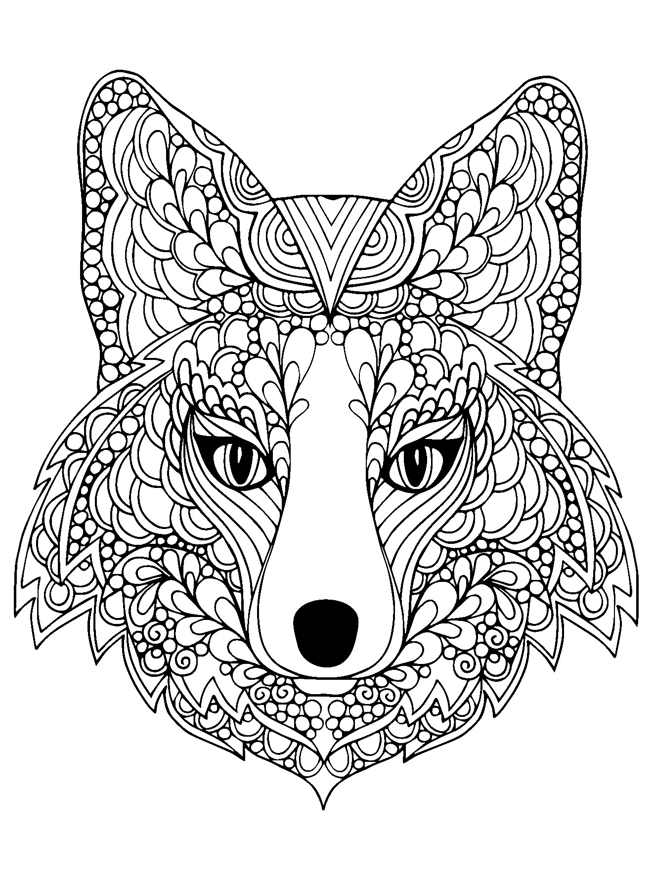 Beutiful Fox Head Foxes Adult Coloring Pages