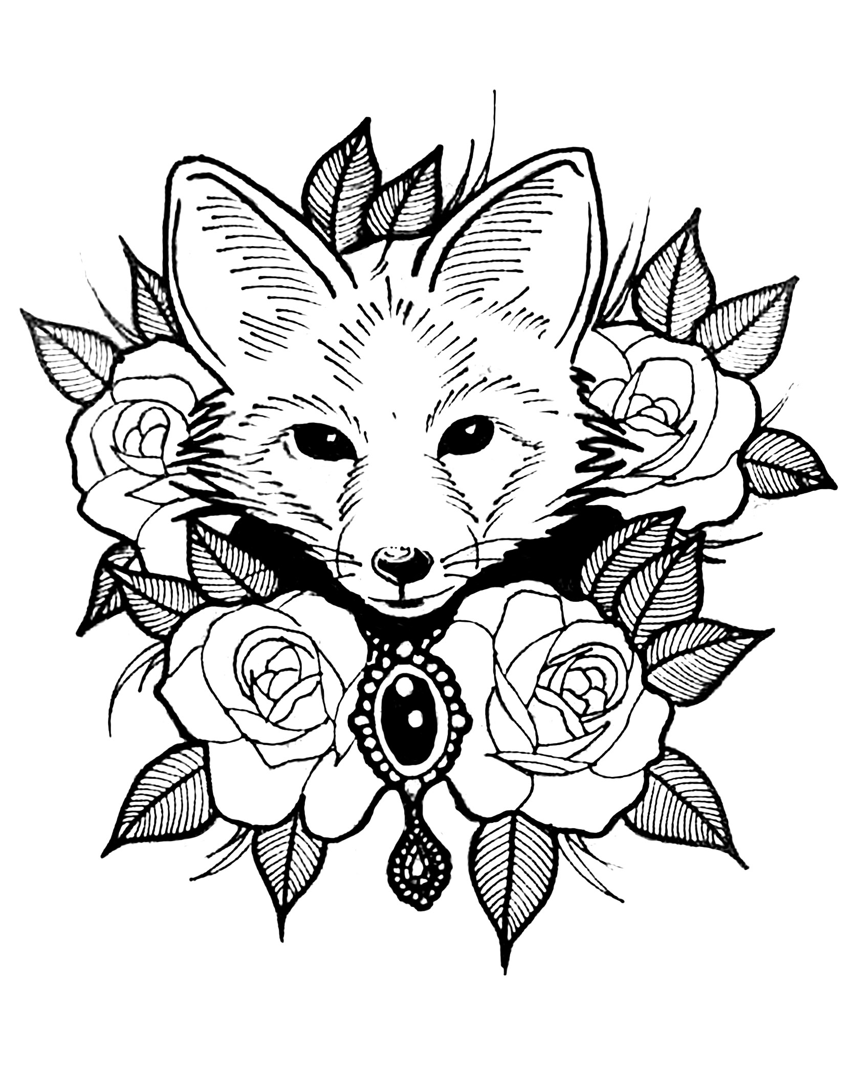 Coloring page with the head of a fox in a center of roses and beautiful leaves