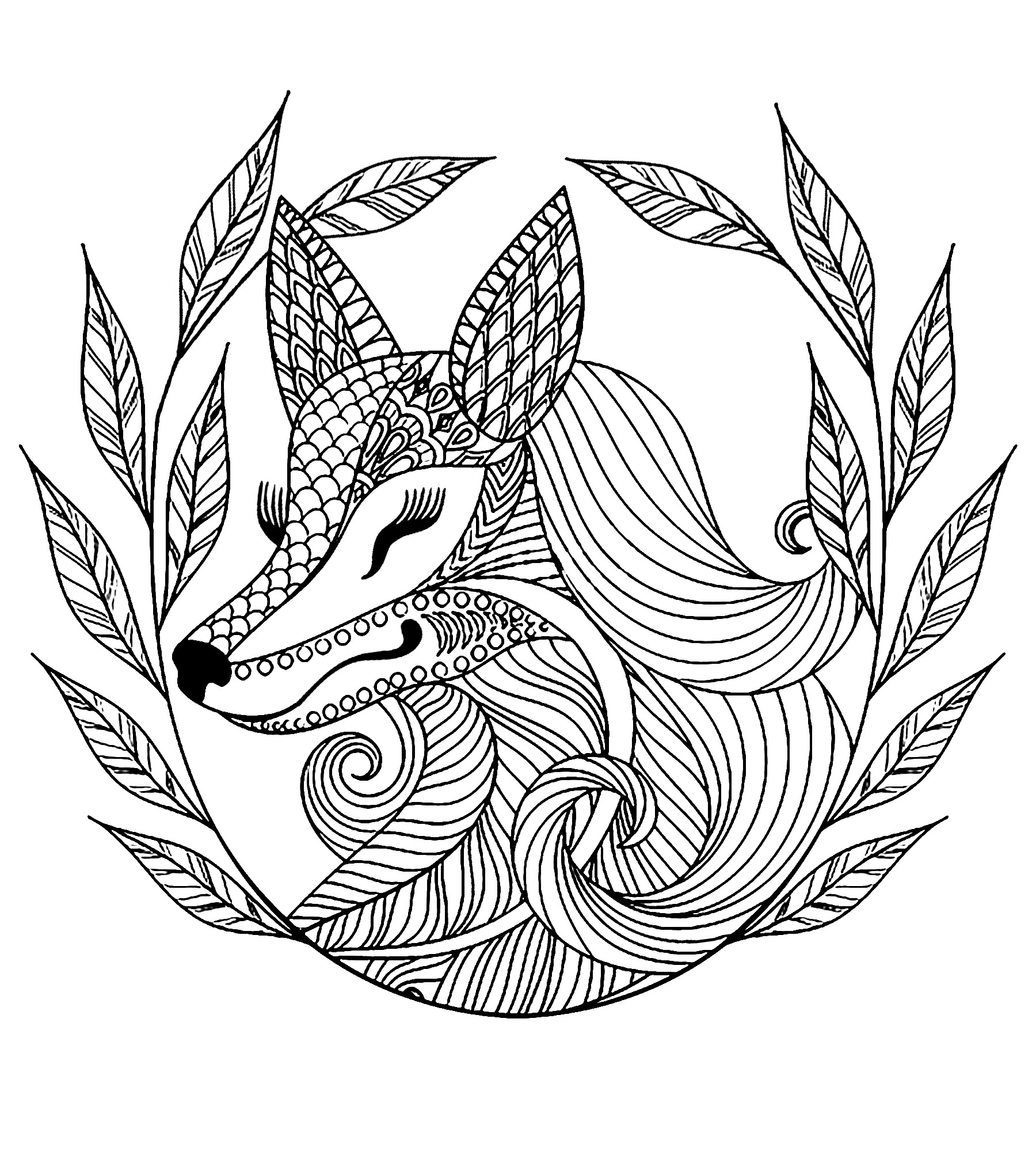 - Fox And Leaves - Foxes Adult Coloring Pages