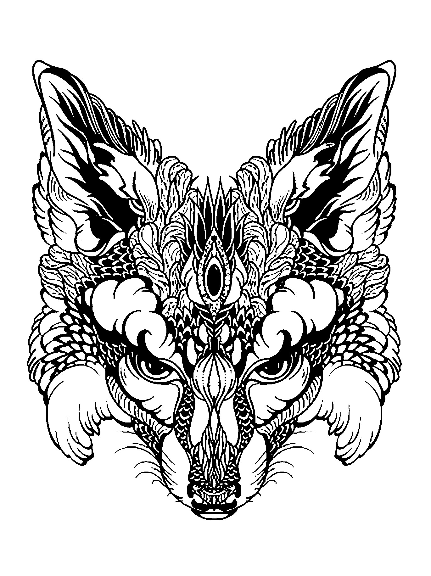 Coloring page of a fox in black & white