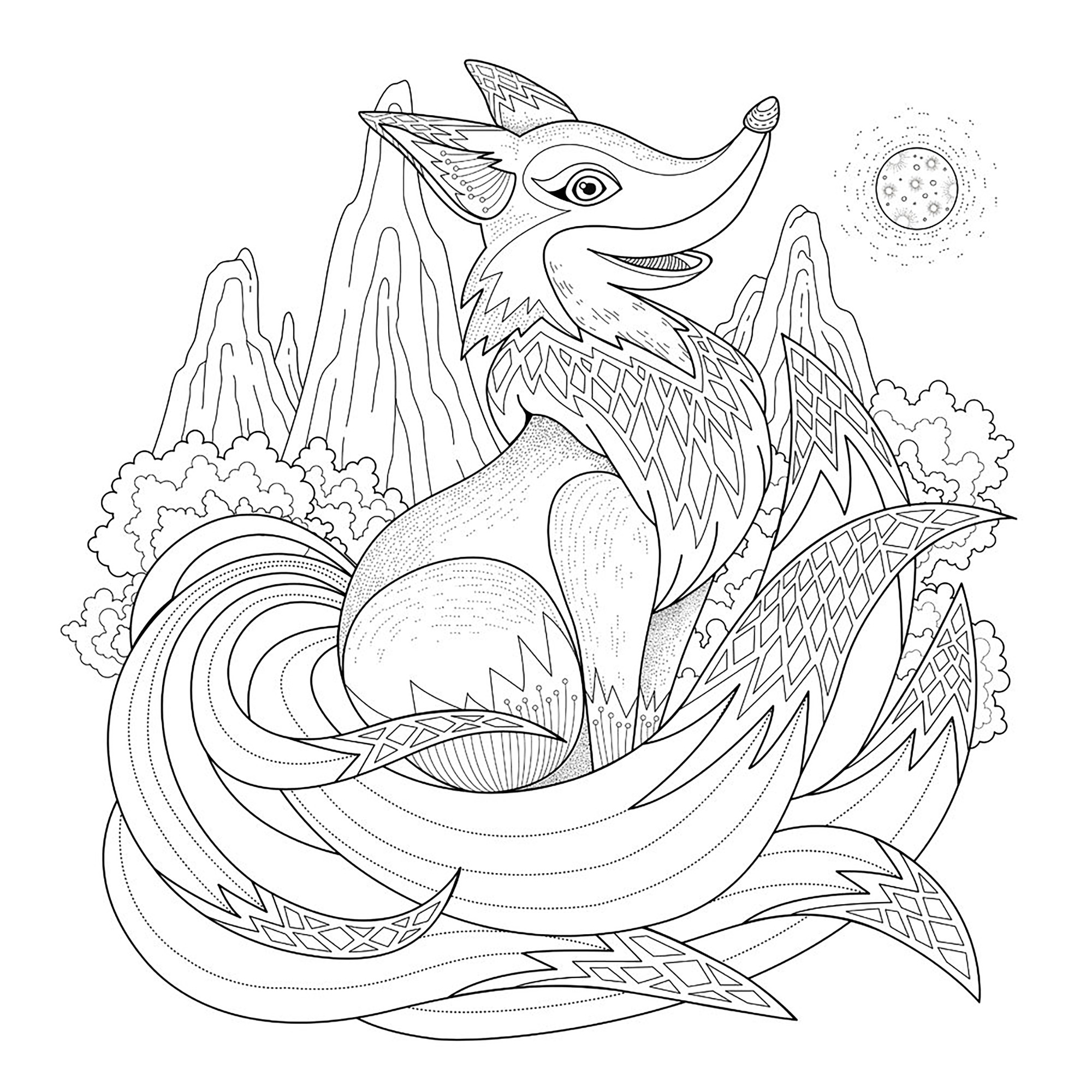 Funny and happy fox - Foxes Adult Coloring Pages
