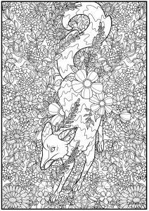 Fox and wild flowers