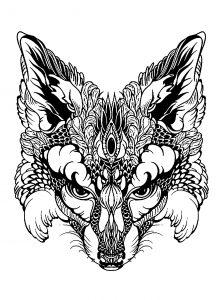 Coloring page fox head
