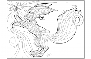 Coloring pages adult Fennec fox Doodle by Juline