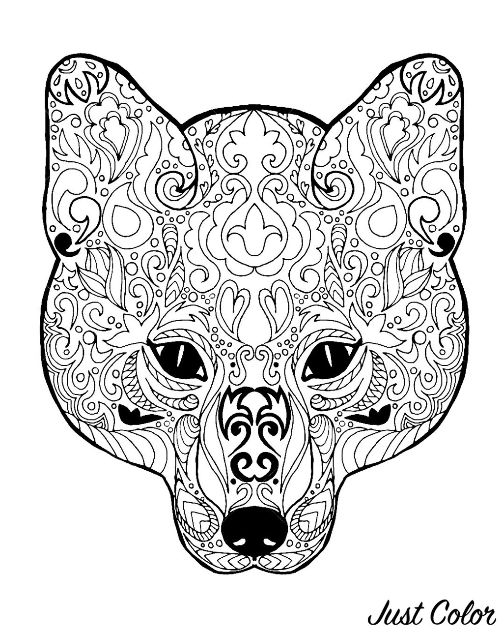 Fox Head With Patterns Foxes Adult Coloring Pages