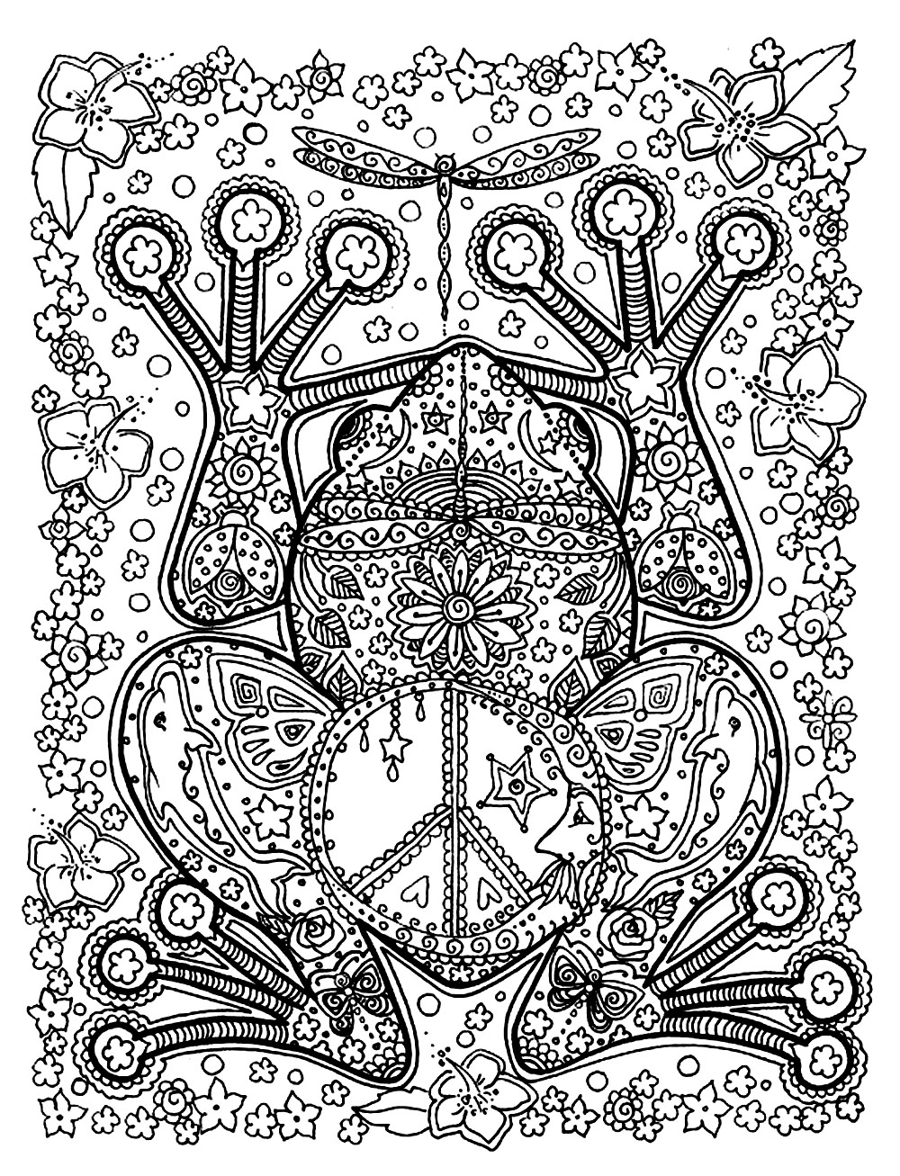 Coloring Page Animals Big Frog A With Patterns Full Of Details Inside And Outside