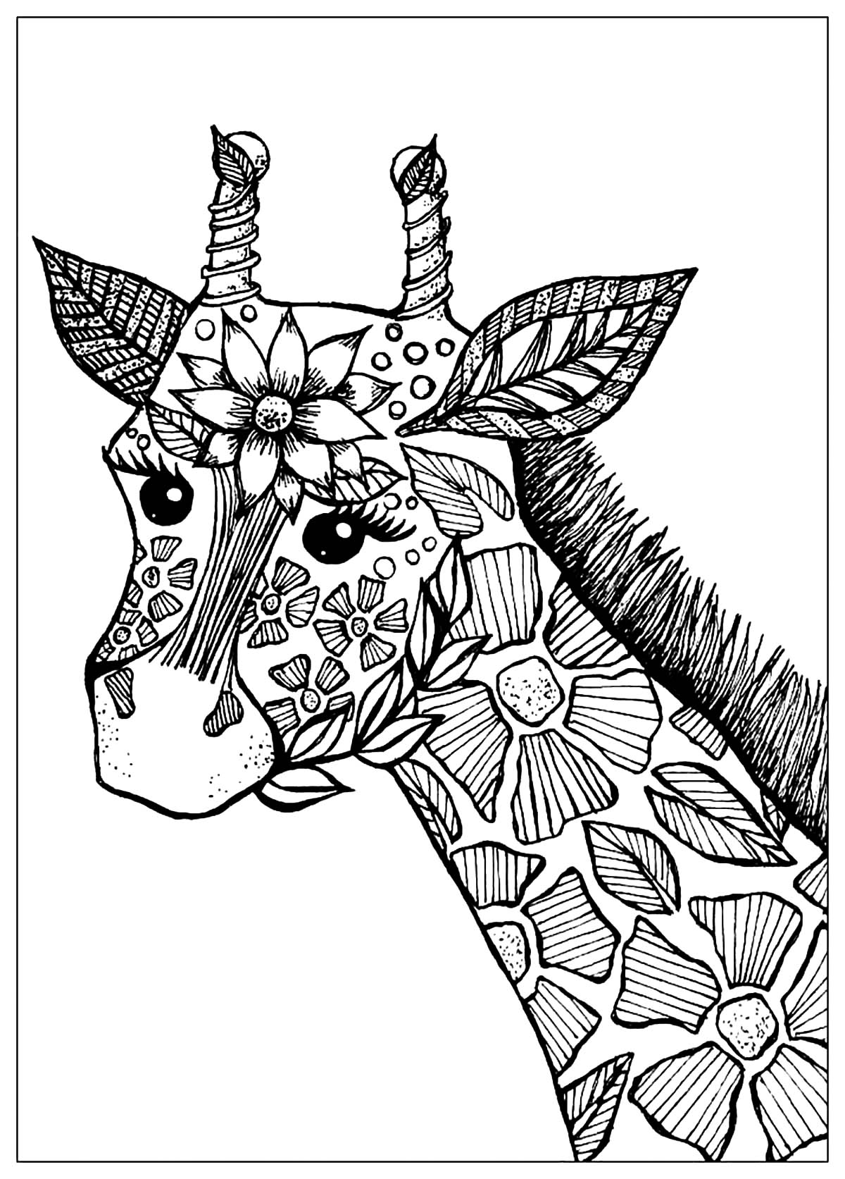 - Giraffe Head With Flowers - Giraffes Adult Coloring Pages