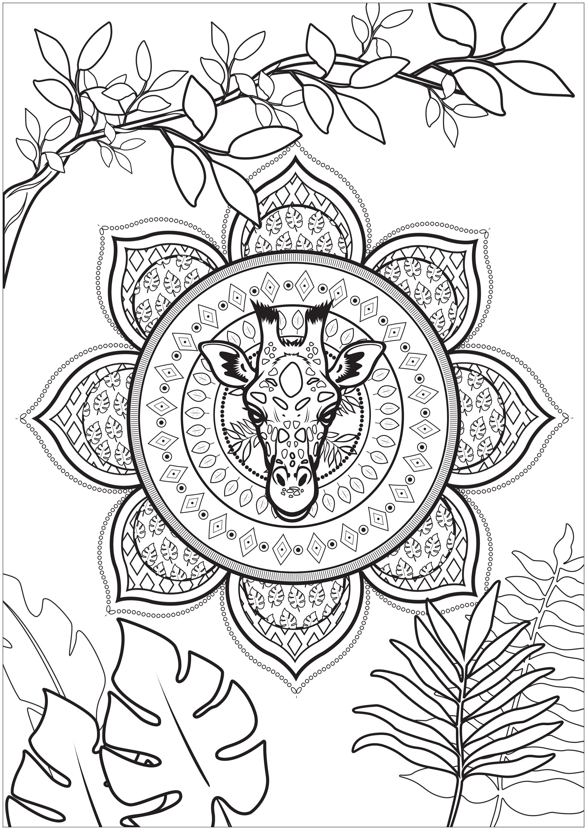 Coloring of a giraffe head embedded in a tropical mandala with pretty branches and leaves to color