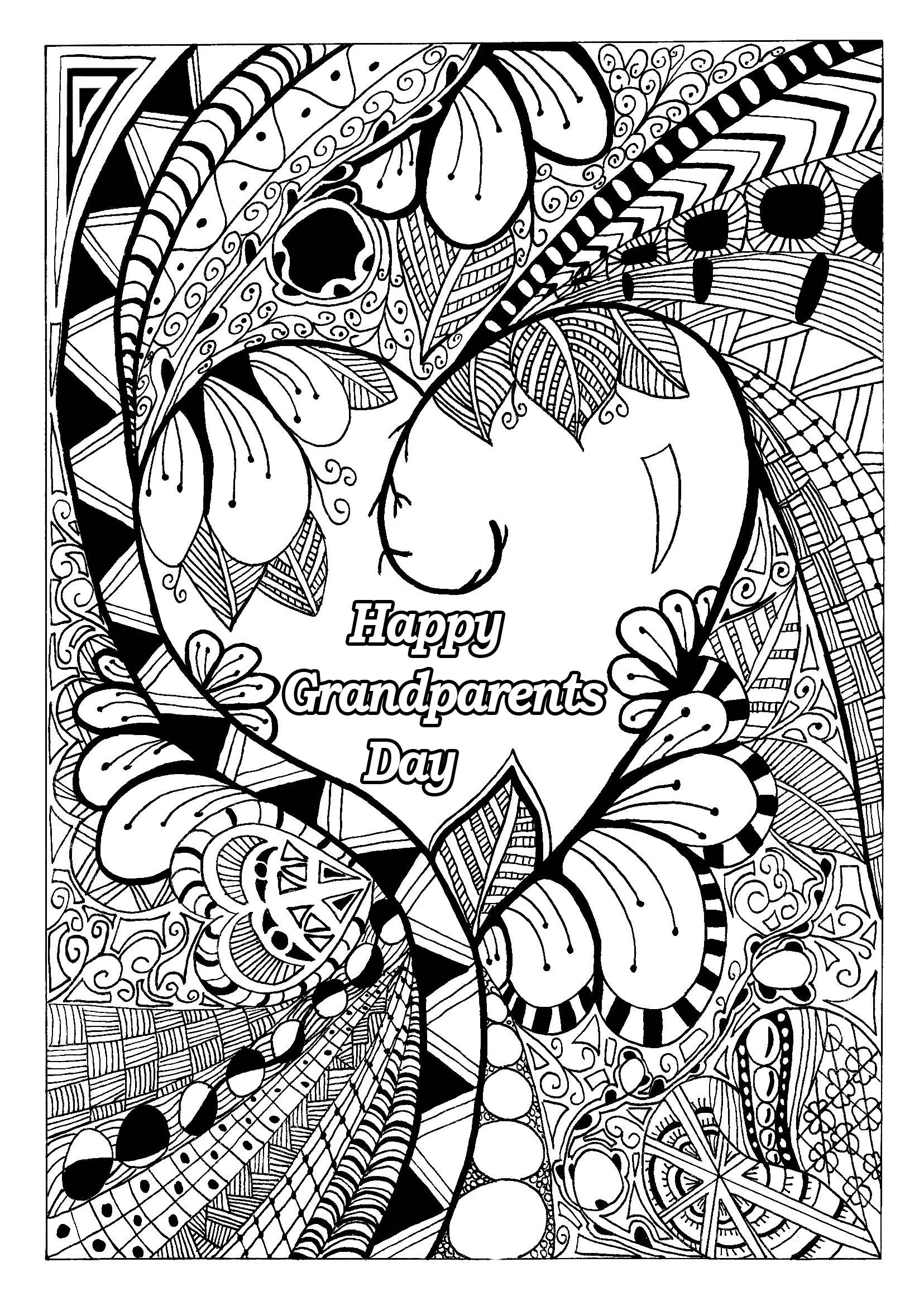 Grandparents day 1 - Gr&parents Day Adult Coloring Pages