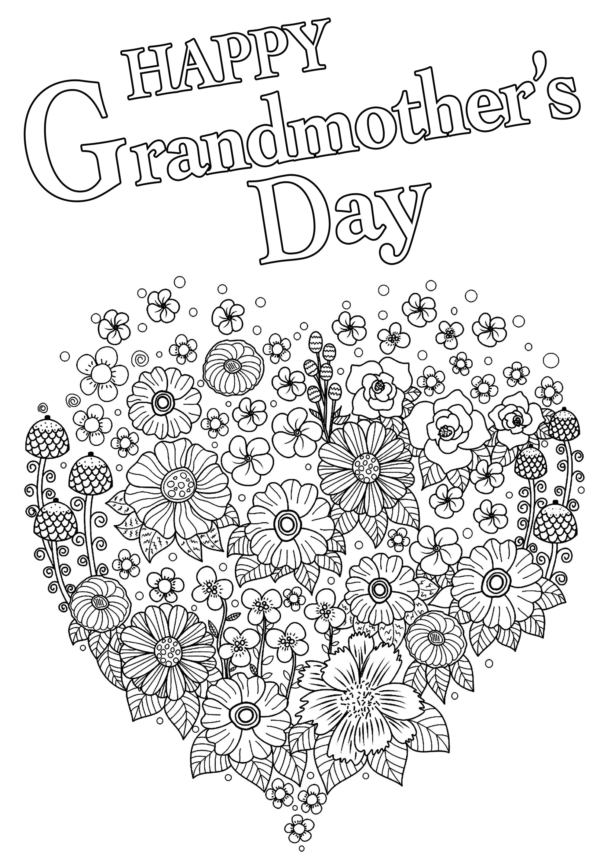 - Happy Grandmother's Day With Heart Full Of Flowers - Grandparents