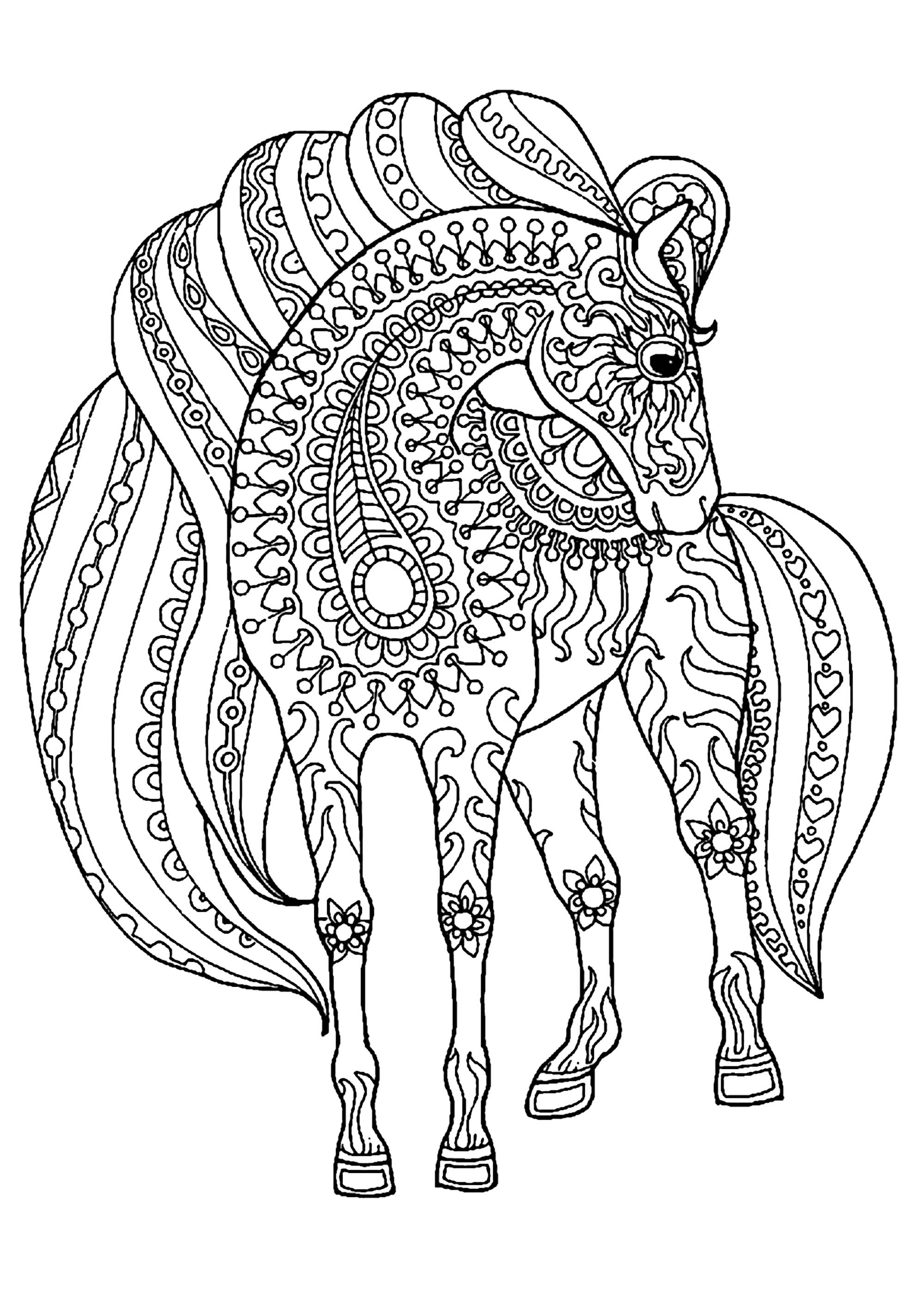 Horse simple zentangle patterns - Horses Adult Coloring Pages