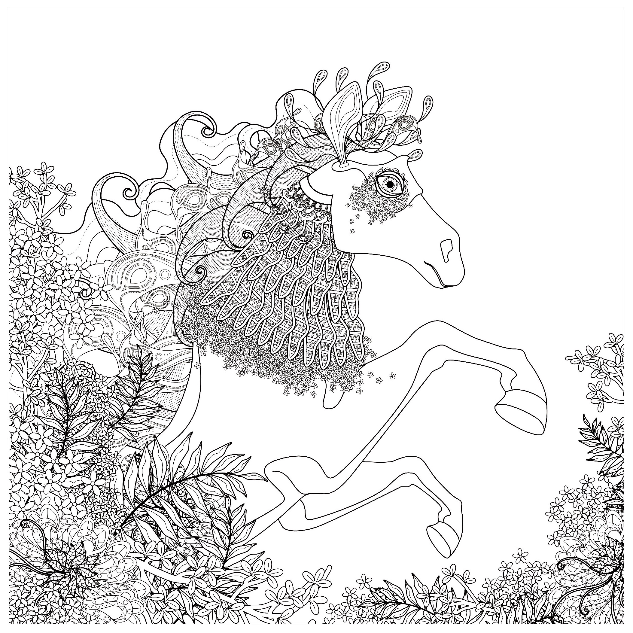 Horse with floral elements - Horses Adult Coloring Pages
