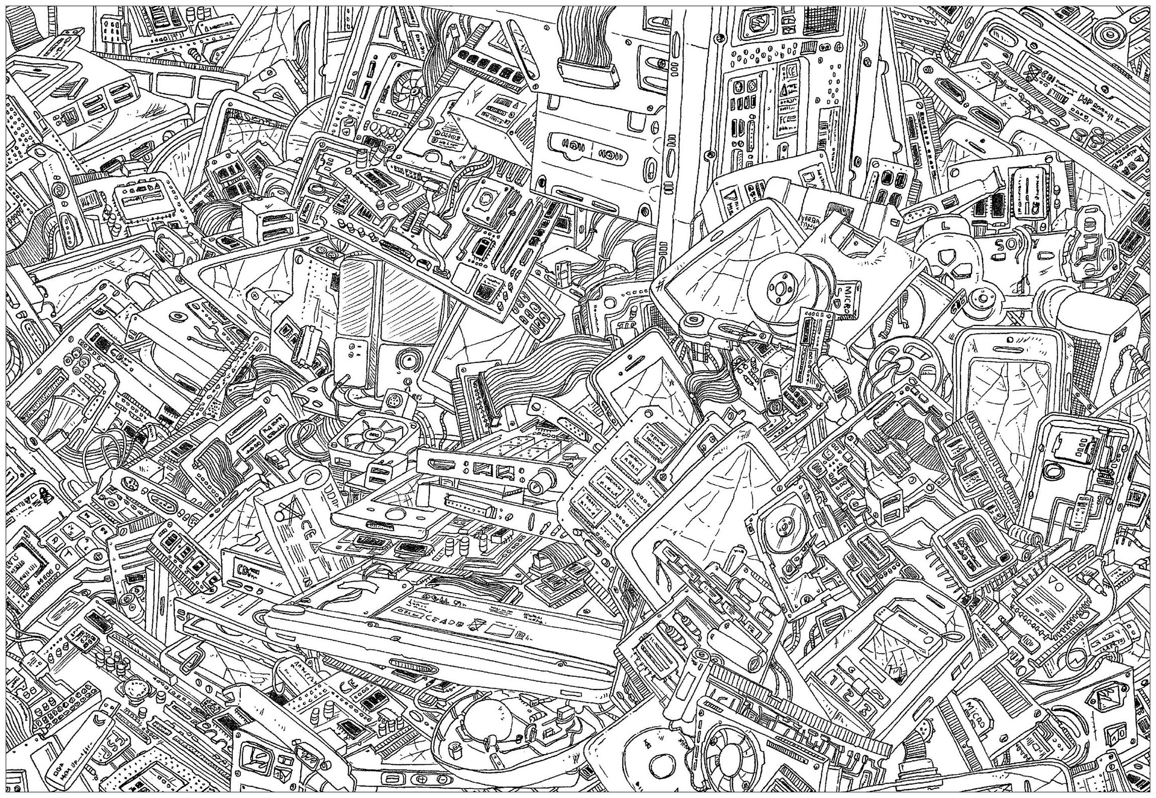 'Computers', a complex coloring page, 'Where is Waldo ?' style