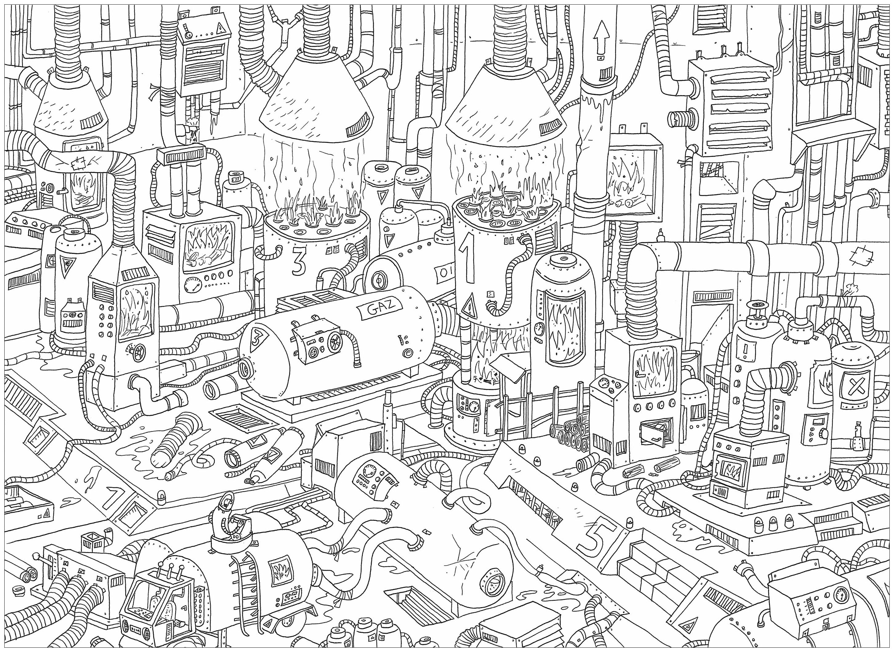 'Gas', a complex coloring page, 'Where is Waldo ?' style