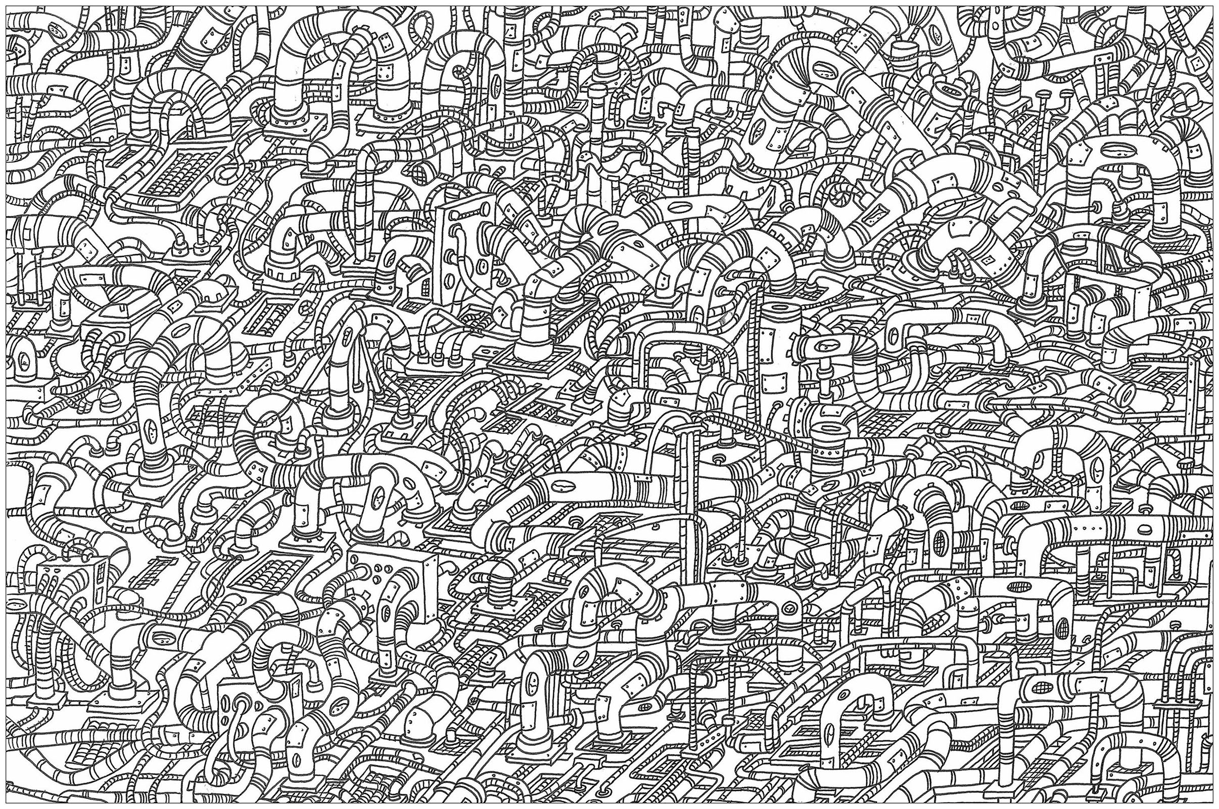 'Hoses', a complex coloring page, 'Where is Waldo ?' style
