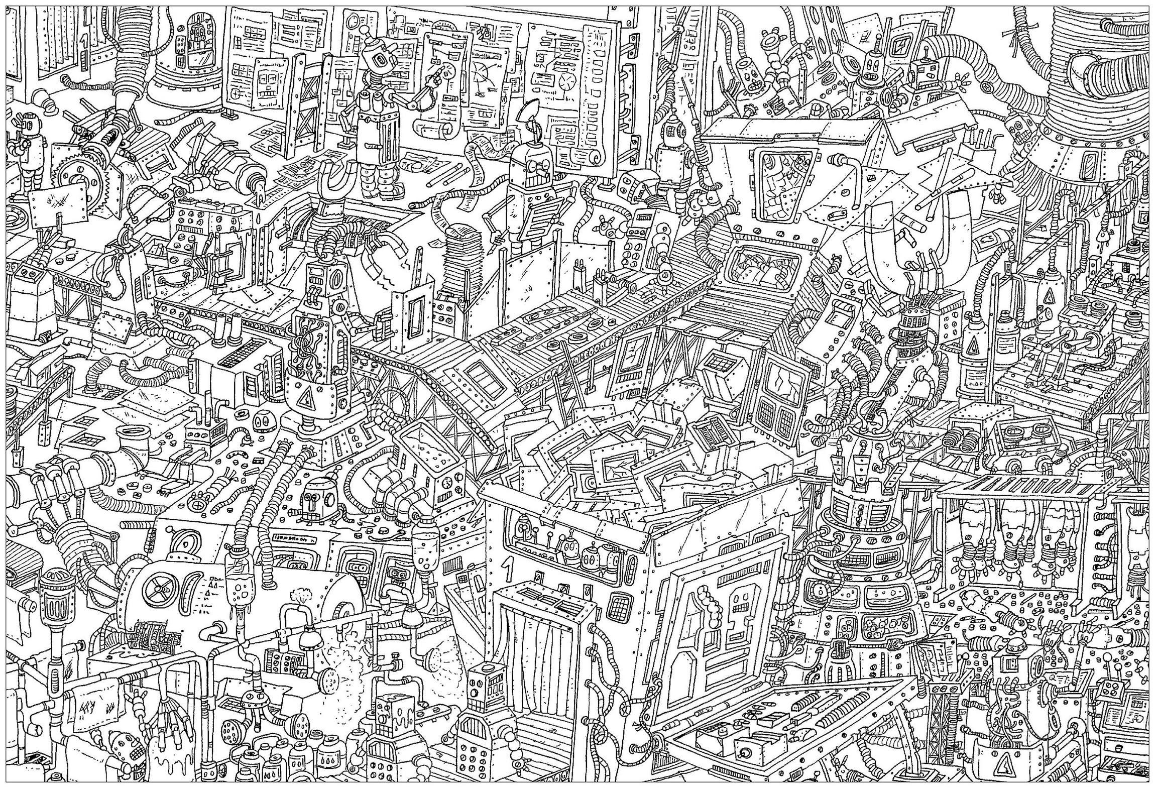 'Robots factory', a complex coloring page, 'Where is Waldo ?' style