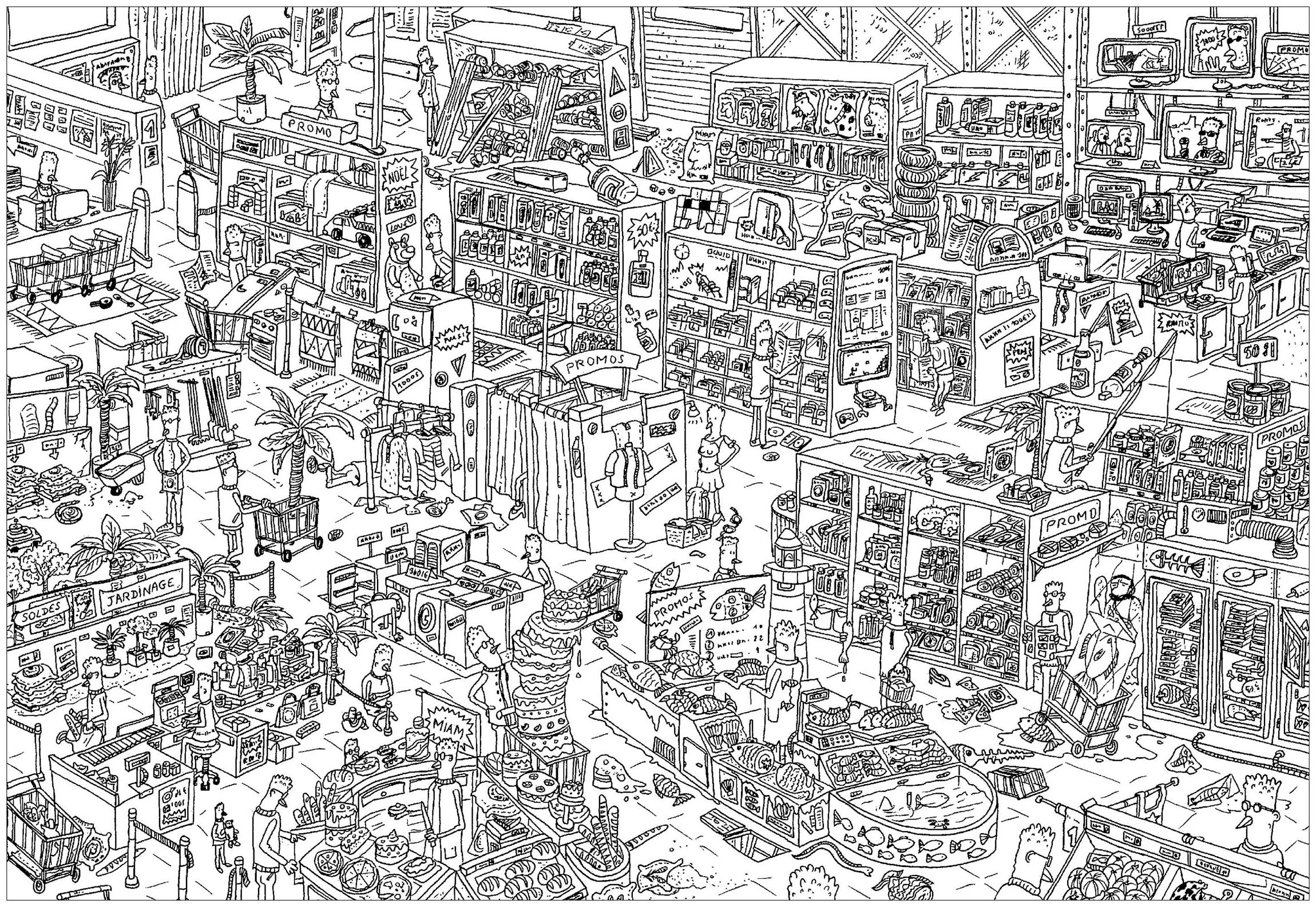 store a complex coloring page where is waldo style - Complex Coloring Pages