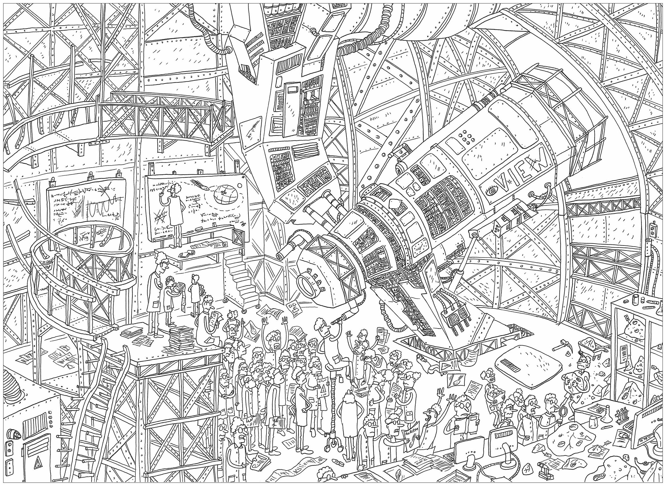The Giant Telescope A Complex Coloring Page Where Is Waldo