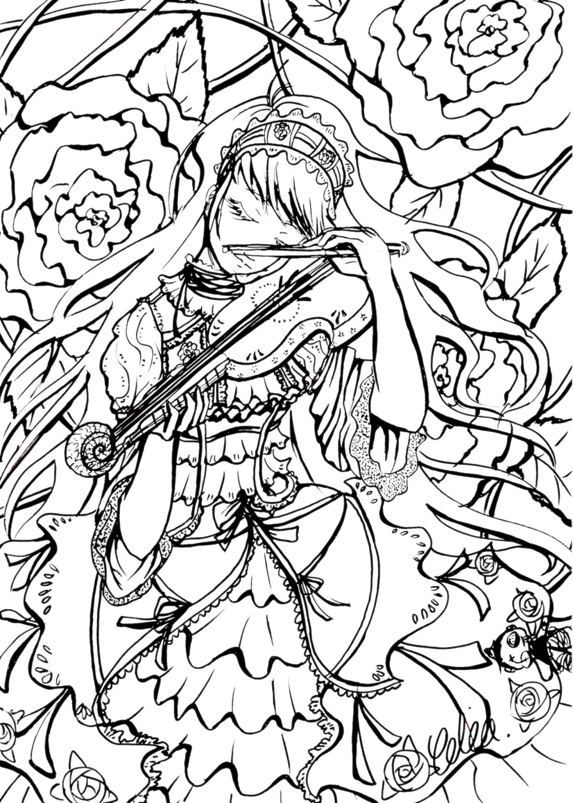 Princess playing her violin, flowery background