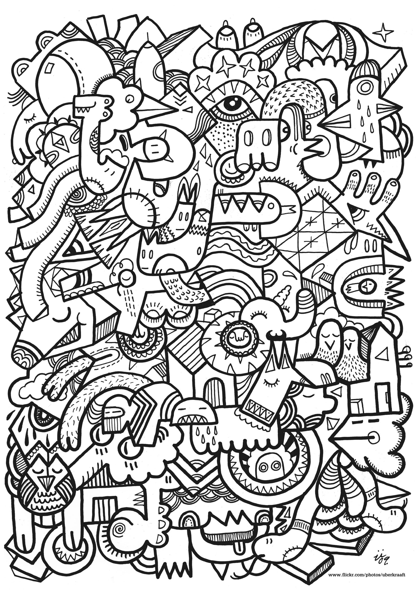 Complex Drawing With Different Doodle Creatures
