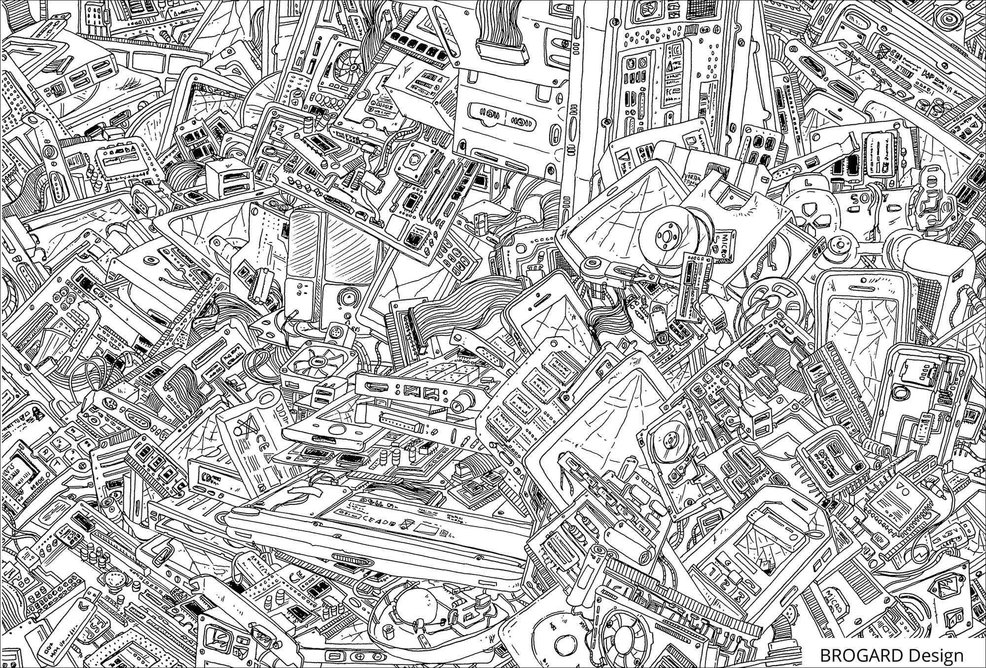 A lot of details to color in this drawing full of electronic elements from computers
