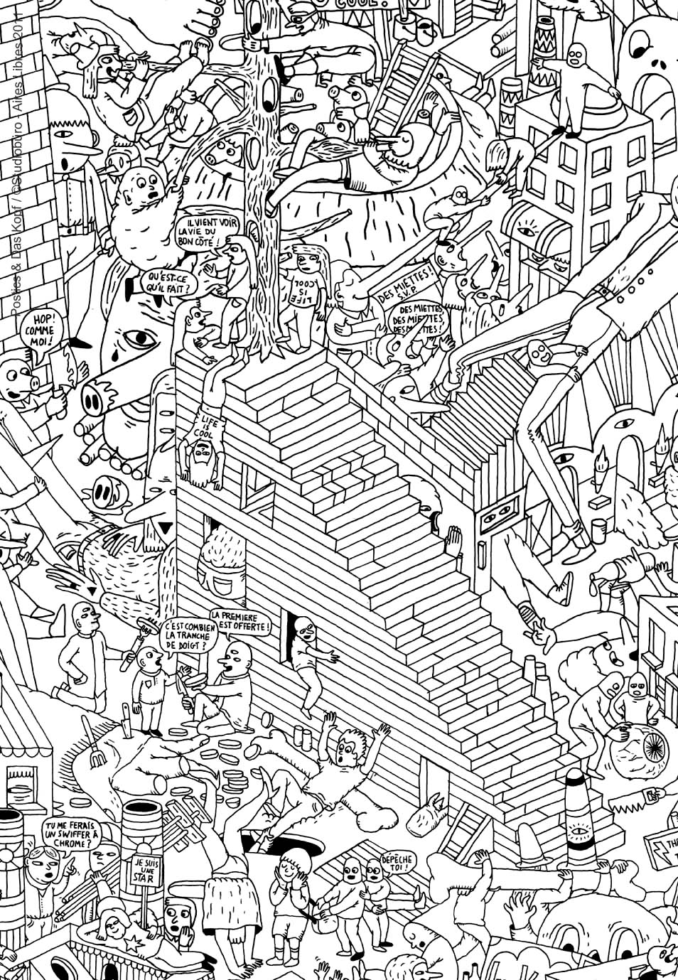 Very complex coloring page of an imaginary city with robots and other strange creatures - 2