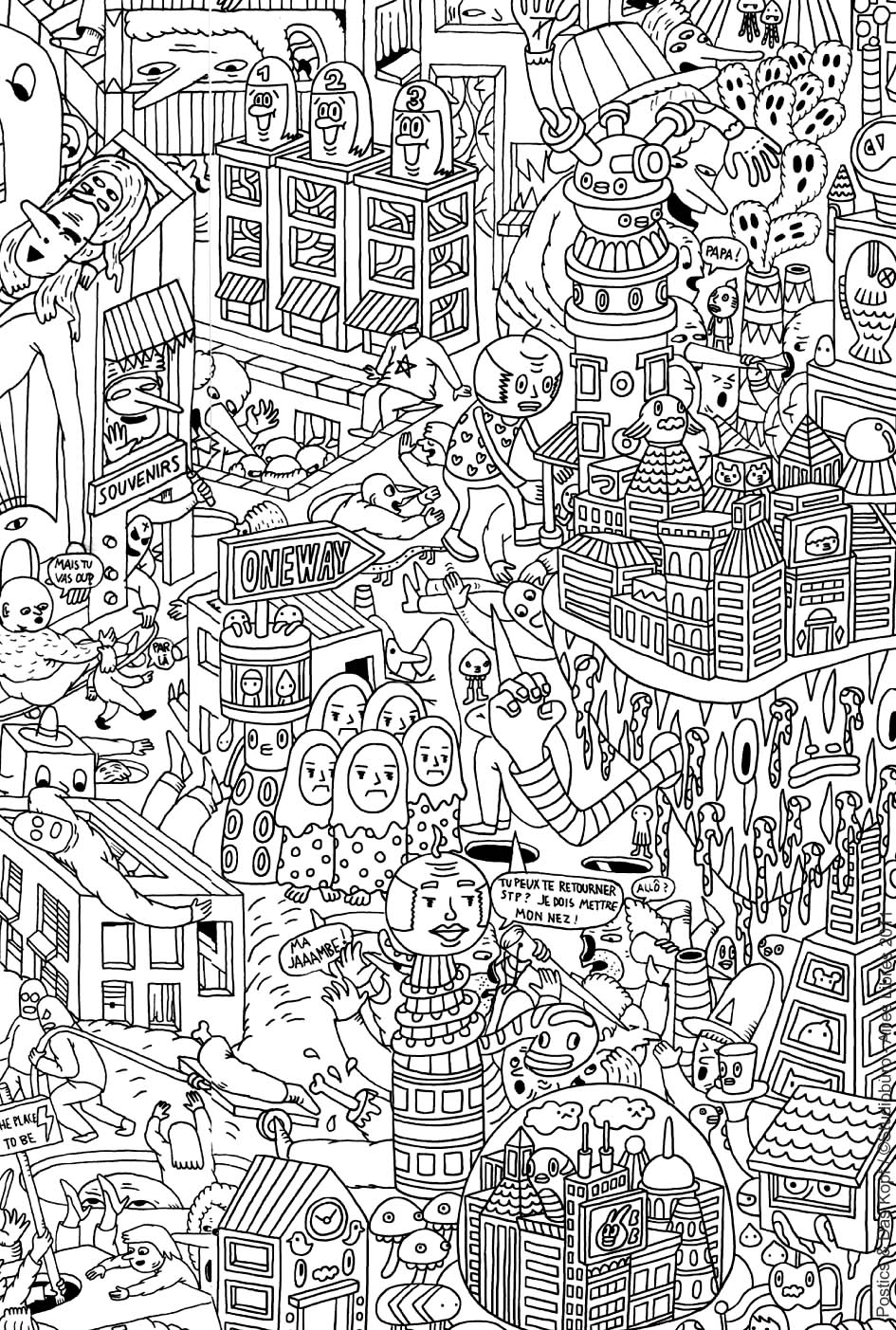 Very complex coloring page of an imaginary city with robots and other strange creatures - 3