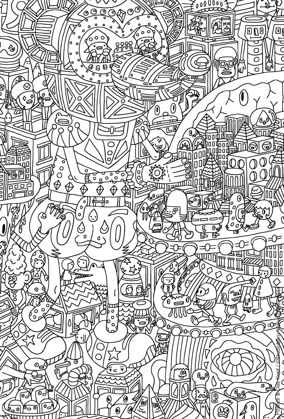 Very complex coloring page of an imaginary city with robots and other strange creatures - 4