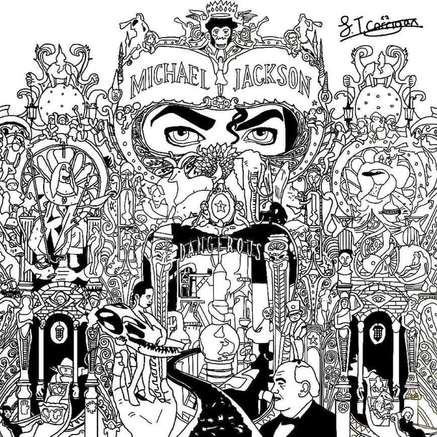 Michael Jackson's Dangerous album cover ... The most incredible artwork for a music album, to color !