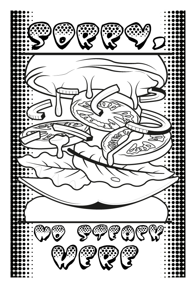 Coloring page of a hamburger ... Without meat ?