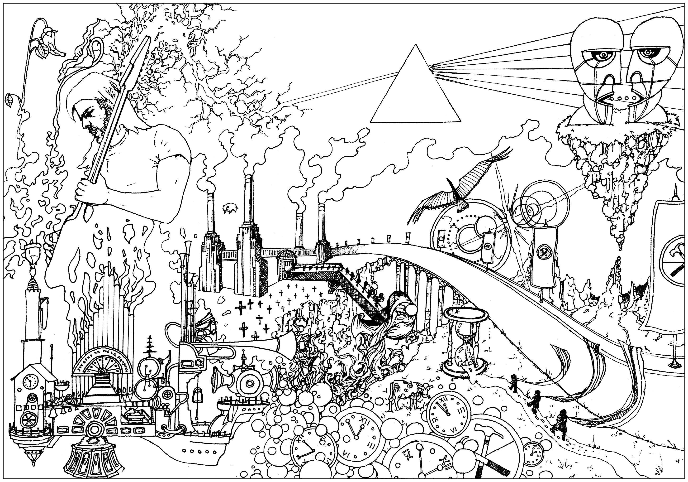 Coloring page inspired by the visual art of the band Pink Floyd
