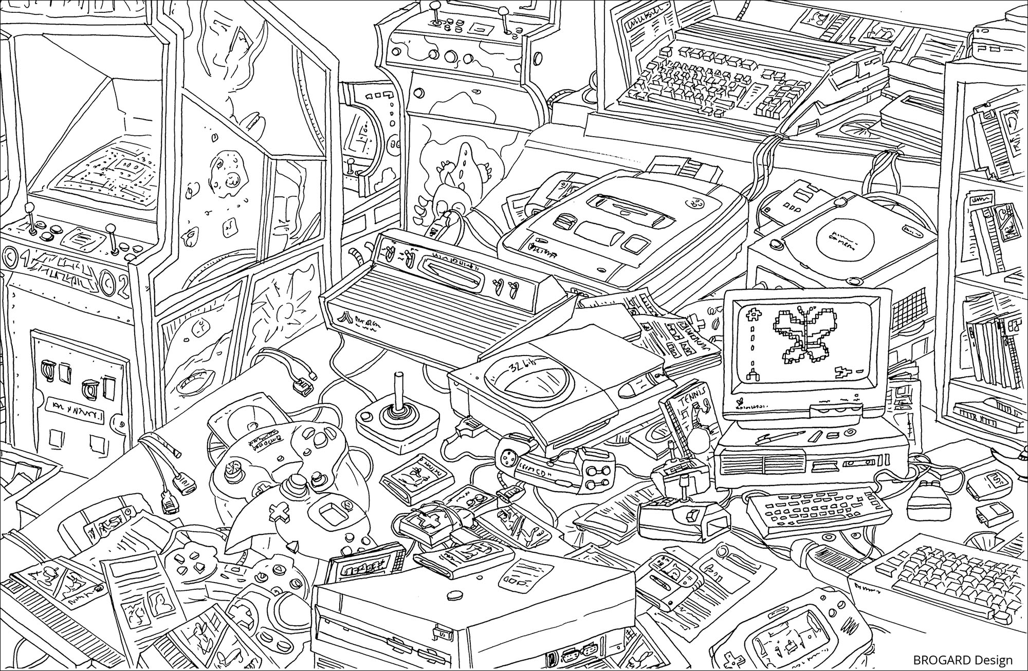 Drawing with little details inspiring by 90's video games