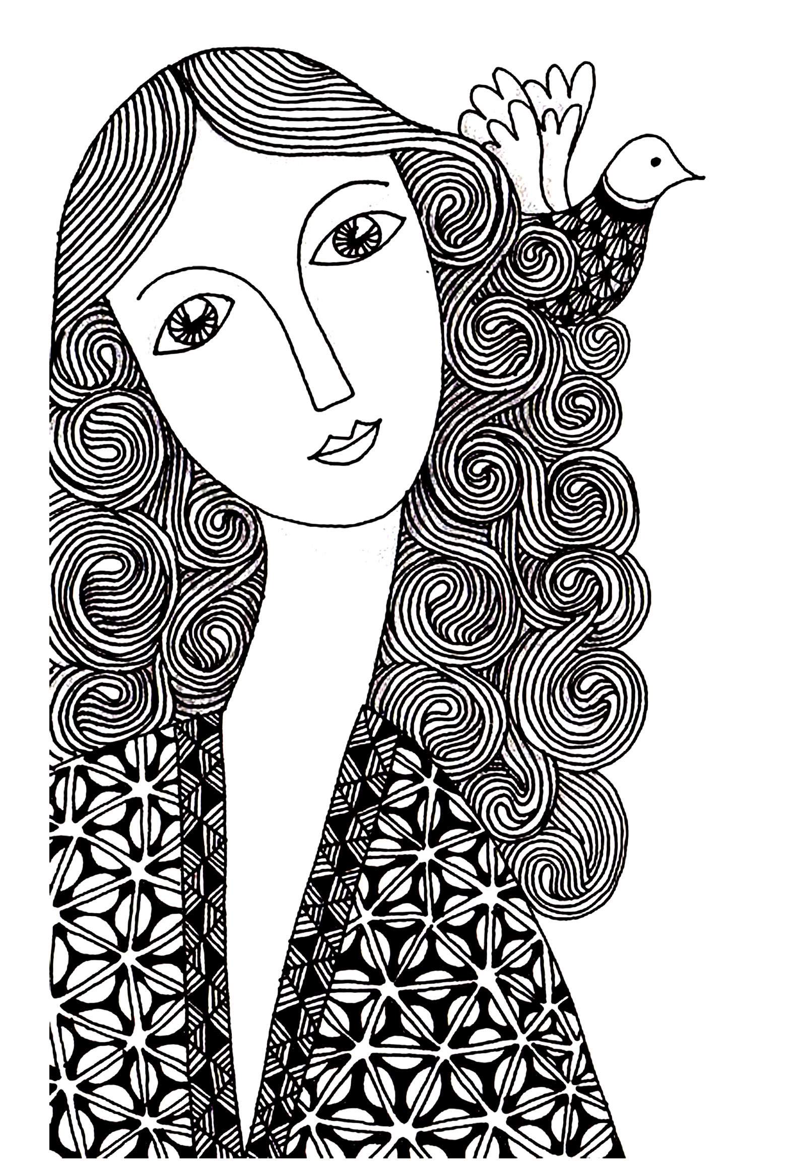 Woman Simple Unclassifiable Adult Coloring Pages