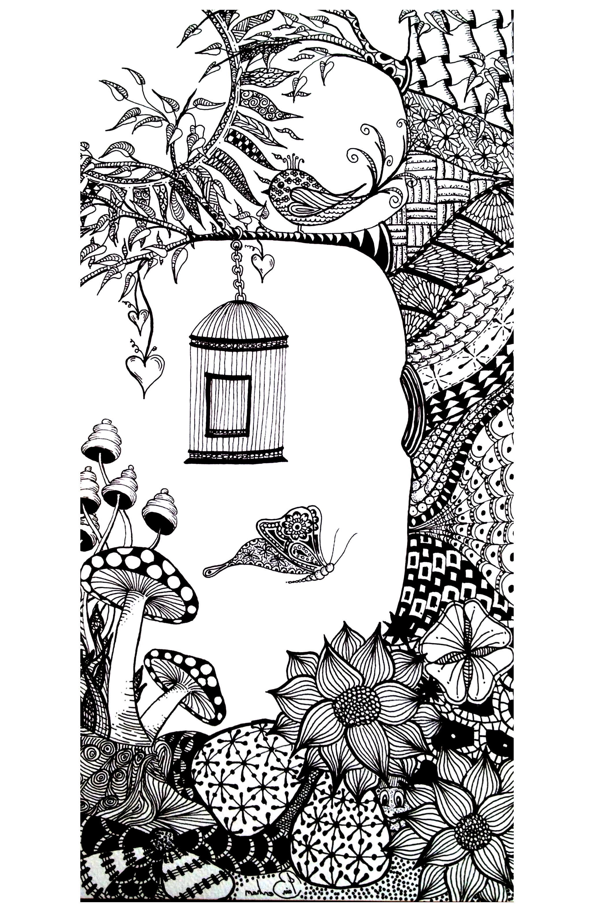 Coloring Page With A Butterfly And Bird In Wonderful Environment