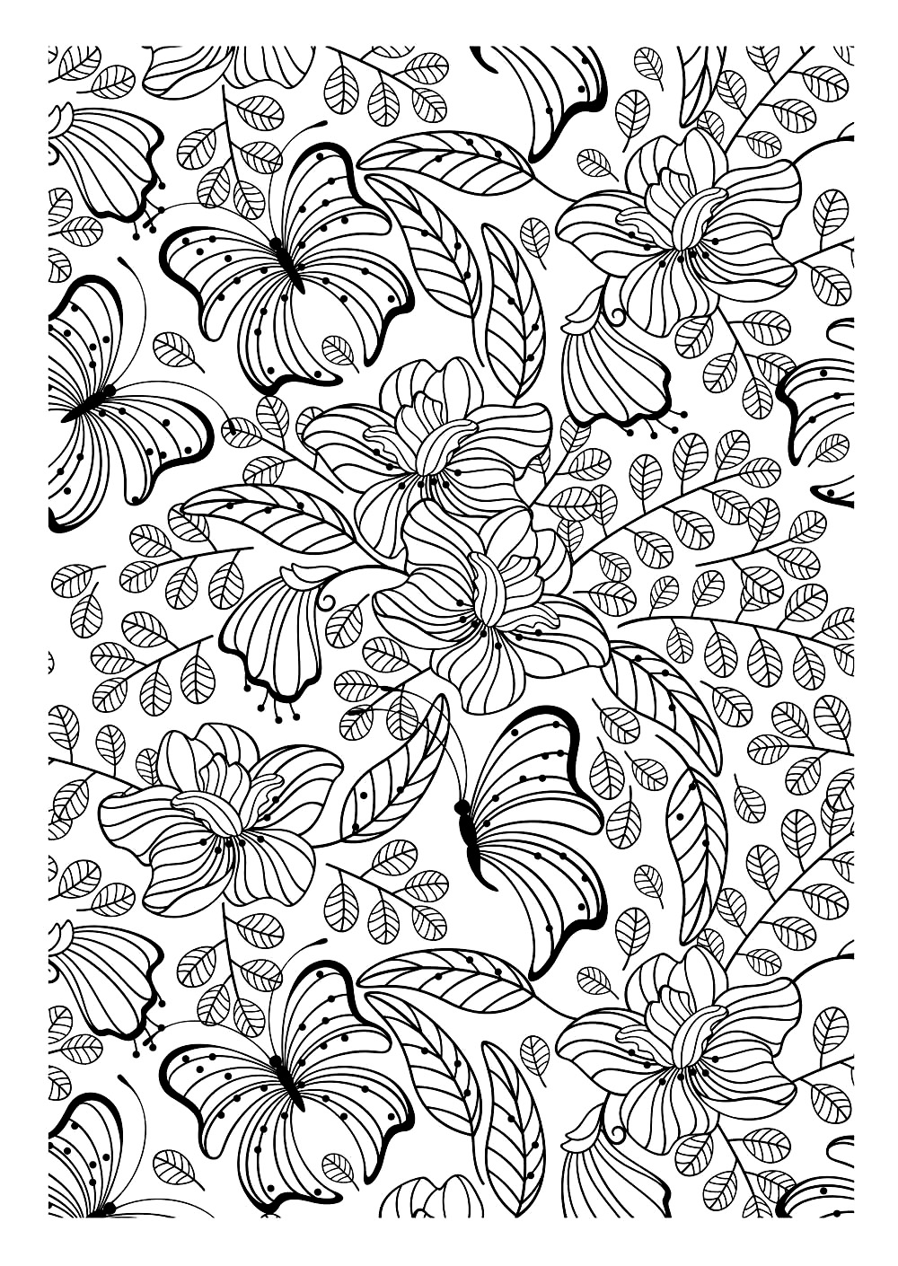 Another Image To Print And Color Filled With Pretty Leaves Flowers Butterflies