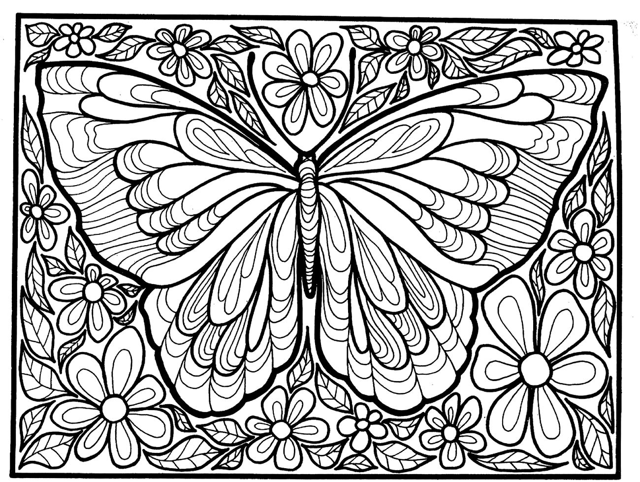 Coloring Picture Of A Big Butterfly With Flowers Around Occupying All The Space Available