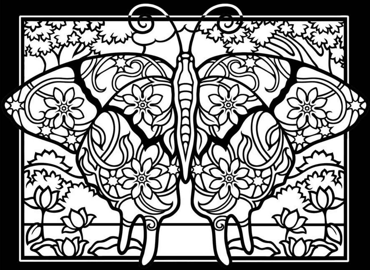Butterfly coloring page symmetry - Coloring Adult Difficult Butterflies Black Background Free To Print
