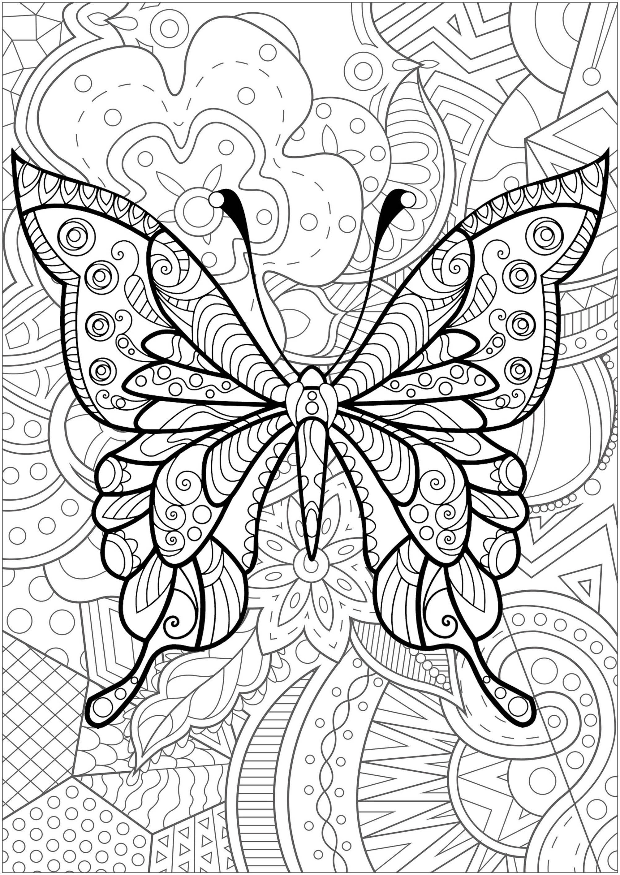 Butterfly with patterns inside and magnificent flowered background - 4