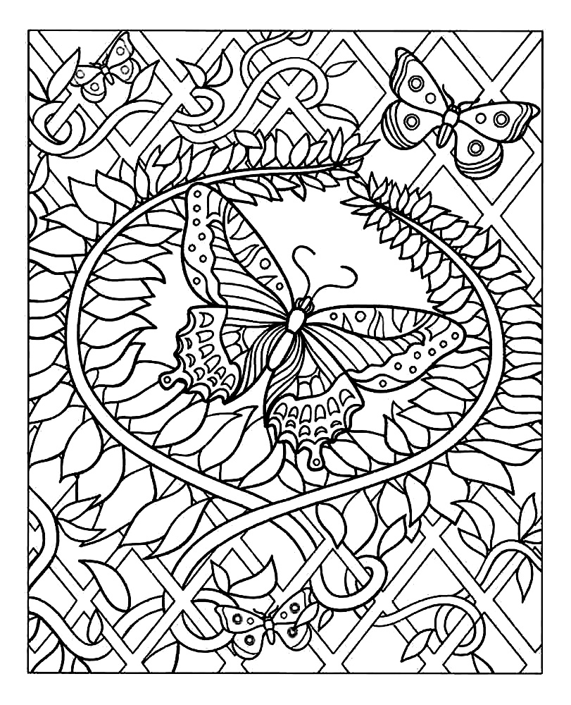 Difficult butterfly coloring pages - Adult Coloring Page Of A Beautiful Butterfly Decorated With Many Eye Pleasing Plant Patterns