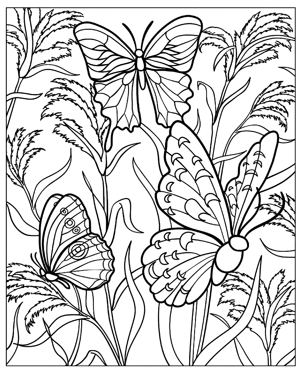 Difficult butterfly coloring pages - Several Beautiful Butterflies With Wings Full Of Details In A Beautiful Garden Full Of Beautiful